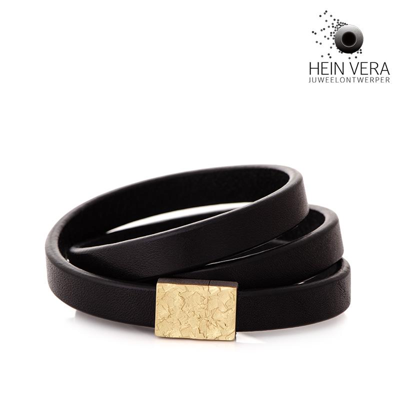 Armband in leder met slot in palladium en goud van de klant_heinvera