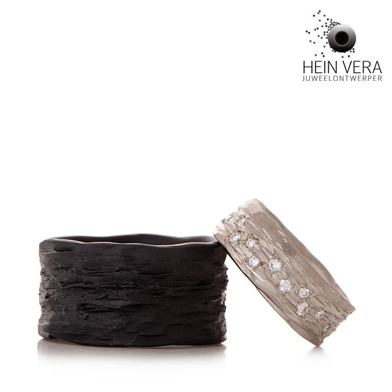Trouwringen in zwart zirkonium en palladium met diamantjes Hein Vera