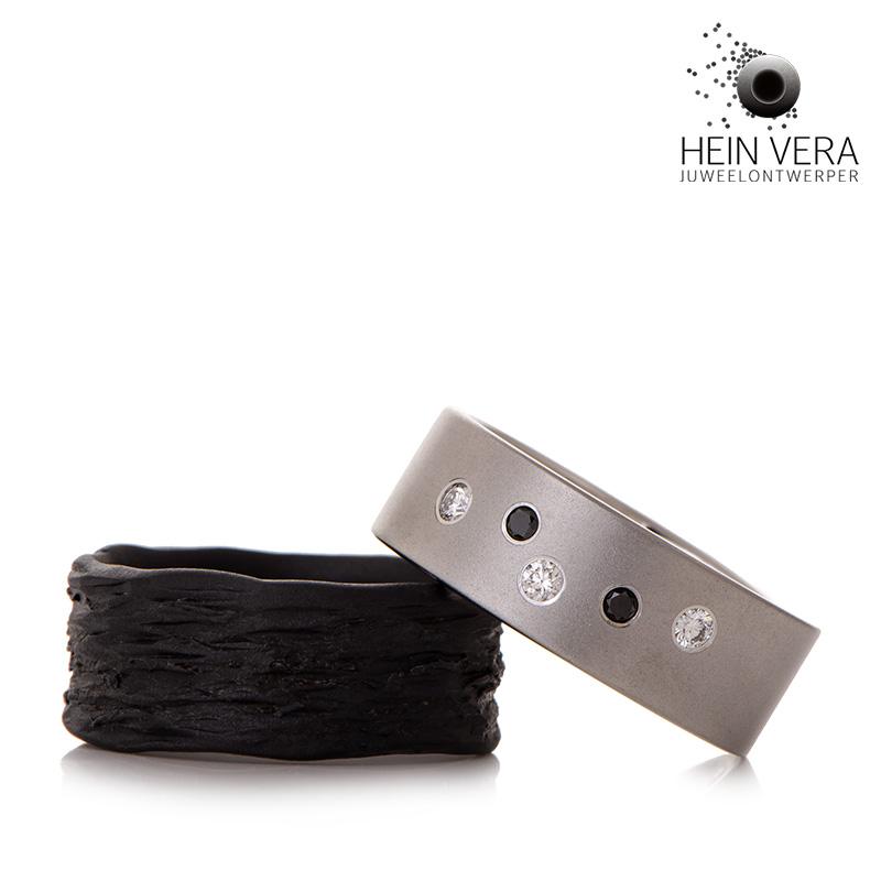 Trouwringen in zwart zirkonium en cobalt-chrome met diamantjes Hein Vera