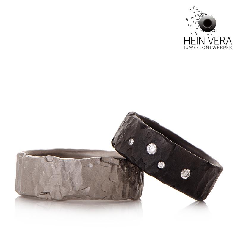 zwarte en grijze trouwringen in zirkonium en titanium met diamantjes HeinVera