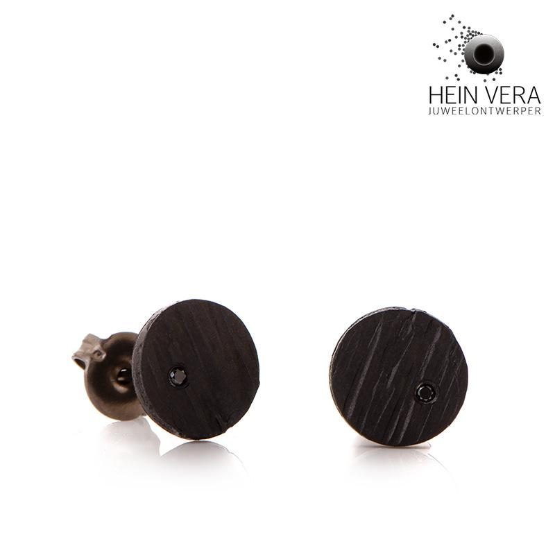 Zwarte oorringen in zirkonium met zwarte diamantjes HeinVera