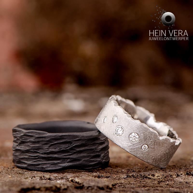 Zwarte trouwring in zirkonium en cobalt-chrome ring met diamantjes_HeinVera
