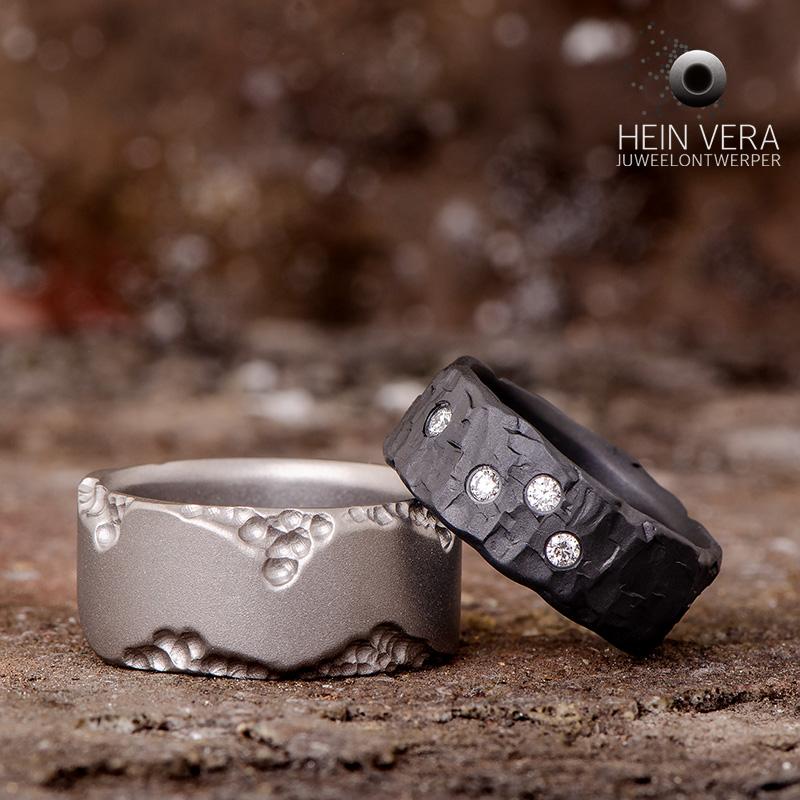Trouwringen in titanium en zwart zirkonium met diamantjes_heinvera