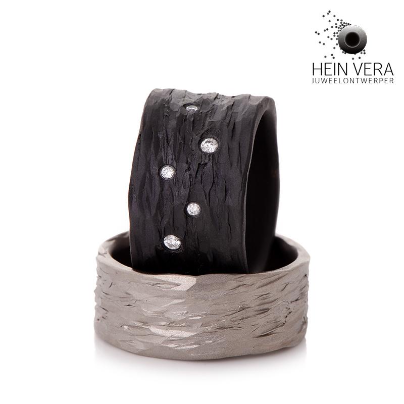 Zwarte en grijze trouwringen in zirkonium en titanium met diamantjes_heinvera