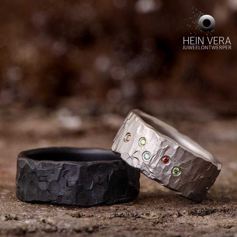 Zwarte trouwring in zirkonium en titanium trouwring met gekleurde diamantjes_heinvera