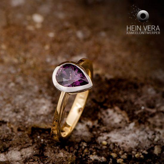 Ring in geel goud en platina met spinel_heinvera